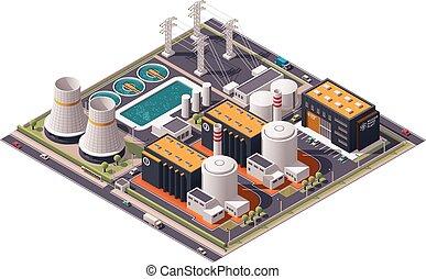isométrico, potencia, planta nuclear, vector, icono