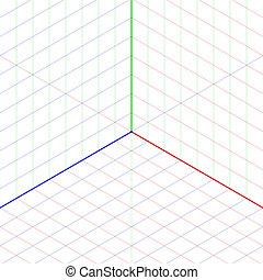 isométrico, proyección, plano de fondo