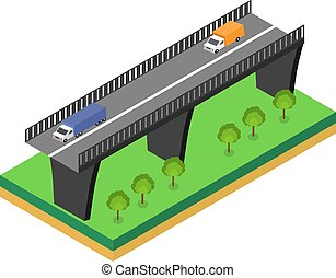 isométrico, puente, con, coches