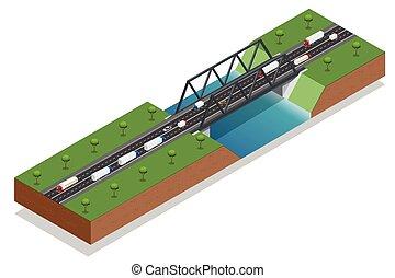 isométrico, puente, encima, el, river., comercial, transport., camión, coche., vario, tipos, de, cargamaento, y, cargo., logistics., vector, isométrico, illustration.
