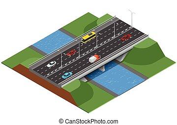 isométrico, puente, encima, el, river., comercial, transport., vario, tipos, de, cargamaento, y, cargo., logistics., plano, 3d, vector, isométrico, ilustración, de, puente