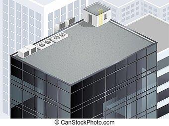 isométrico, rascacielos, techo