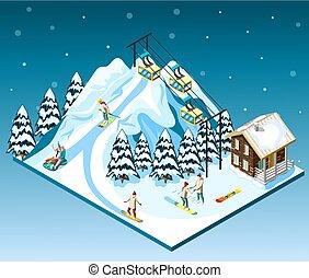 isométrico, recurso, composición, esquí