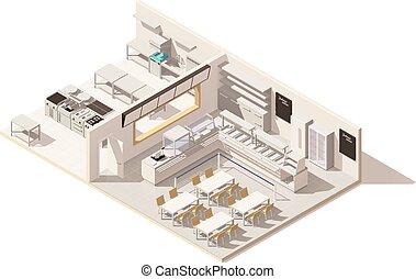isométrico, restaurante, poly, vector, bajo, cocina