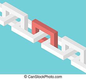 isométrico, rojo, conexión cadena
