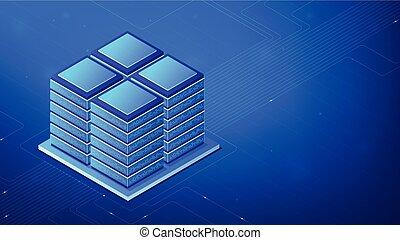 isométrico, servidor habitación, concept.
