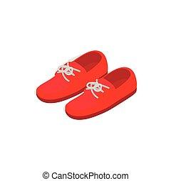 isométrico, shoes, estilo, par, icono, rojo, 3d