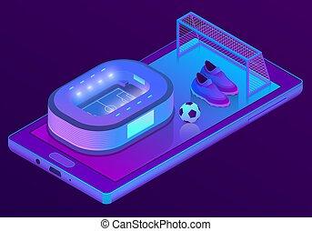 isométrico, smartphone, fútbol, vector, estadio, 3d