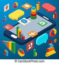 isométrico, smartphone, infographic