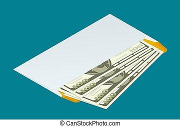 isométrico, sobre blanco, con, dinero., enviar, dinero, concept., plano, 3d, vector, illustration., para, infographics, y, diseño, games.