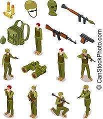 isométrico, soldiers., militar, fuerzas especiales, guerreros, en, ejército, uniforme, munición, y, weapons., 3d, aislado, vector, conjunto