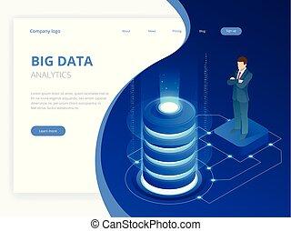 isométrico, tecnología digital, tela, banner., grande, datos, máquina, aprendizaje, algorithms., análisis, y, information., grande, datos, acceso, almacenamiento, distribución, gerencia de información, y, análisis