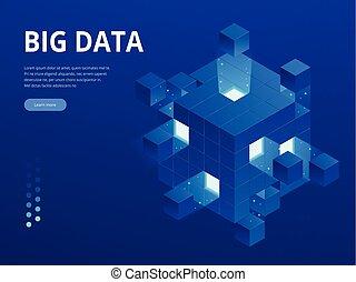 isométrico, tecnología digital, tela, banner., grande, datos, máquina, aprendizaje, algorithms., análisis, y, information., grande, datos, acceso, almacenamiento, distribución, gerencia de información, y, analysis.