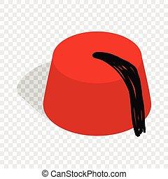isométrico, turco, fez, sombrero, icono