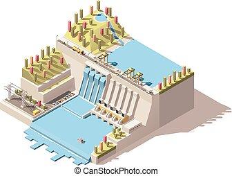isométrico, vector, central eléctrica, infographic, hydro