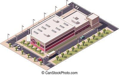 isométrico, vector, centro comercial