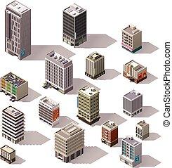 isométrico, vector, conjunto, edificios