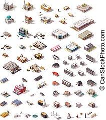 isométrico, vector, edificios, conjunto