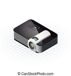isométrico, vector, illustra, proyector