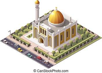 isométrico, vector, mezquita