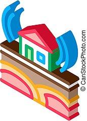 isométrico, vector, residencial, icono, sísmico, edificio, onda, ilustración