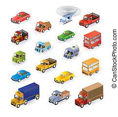 isométrico, vehículos