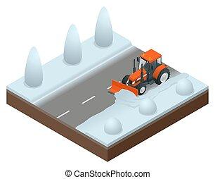 isométrico, viejo, limpia, excavadora, ilustración, snow., snowblower, vector, camino