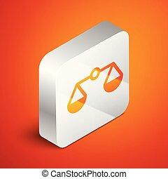 isométrique, échelle, tribunal, balances, justice, signe., isolé, illustration, symbole., arrière-plan., vecteur, carrée, orange, button., équilibre, argent, droit & loi, icône