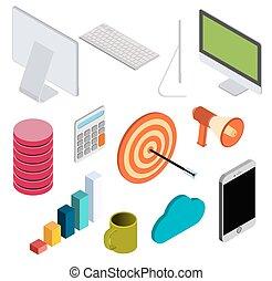 isométrique, éléments, ensemble, business, v