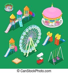 isométrique, éléments, illustration, sweengs, diapo, vecteur, cour de récréation, sandbox., enfants, carrousel