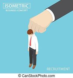 isométrique, être, grand, main., haut, choisi, homme affaires