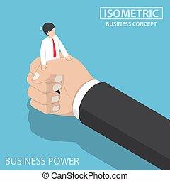 isométrique, être, grande main, serré, homme affaires
