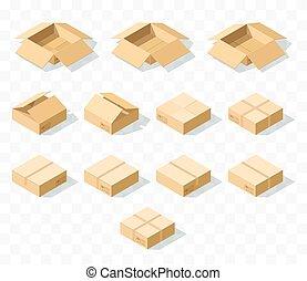 isométrique, 12, réaliste, boîtes, ensemble, ombre, carton, transparent