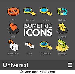 isométrique, 2, ensemble, contour, icônes