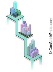 isométrique, 3d, cityscape.