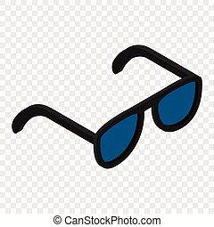 isométrique, 3d, lunettes soleil, icône