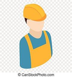 isométrique, 3d, ouvrier, icône