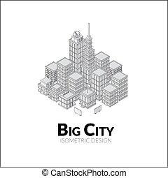isométrique, aérien, contour, ville, grand, illustration, ombres, conception, vue