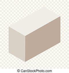 isométrique, aerated, style, béton, icône, 3d
