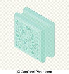isométrique, aerated, style, icône, bloc, 3d
