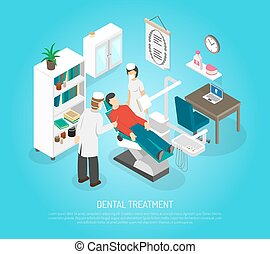 isométrique, affiche, dentaire, contrôles, traitement, procédure