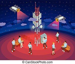 isométrique, affiche, sans fil, satellites, technologie, public
