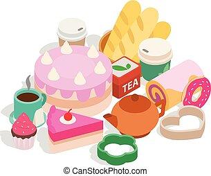 isométrique, agrafe, thé, style, bonbons, art