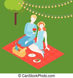 isométrique, amour, romantique, nourriture famille, couple, parc, date., valentin, panier, dehors, dating., petite amie, pique-nique, vin., petit ami, événement, jour, heureux