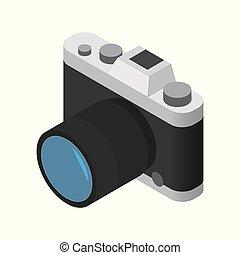 isométrique, appareil photo, vecteur, fond, blanc, icône