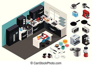 isométrique, appareils, illustration, cuisine