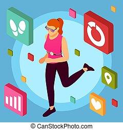 isométrique, apps, fond, fitness