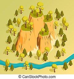 isométrique, arbres., entouré, rebords, forêt, falaise