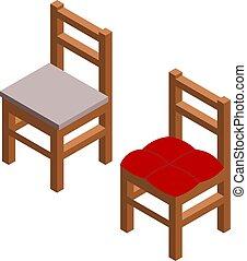 isométrique, arrière-plan., chaises, seat., style, illustration, deux, simple, vecteur, bois, blanc, dessin, couleur