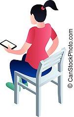 isométrique, asseoir, style, icône, chaise, girl